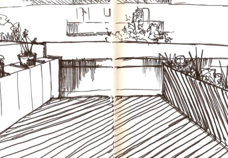 Une terrasse sur les toits.